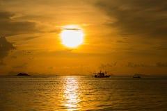 Beautiful sunset on the beach in island Koh Phangan, Thailand. Royalty Free Stock Image