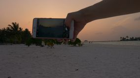 Beautiful sunset on the beach overlooking the palm trees and the ocean in the Maldives. 4k. Timelapse stock footage