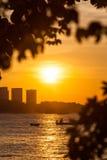 Beautiful sunset on the beach in Pattaya Royalty Free Stock Image