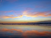 Beautiful sunset at the beach in Portugal Royalty Free Stock Photos