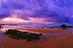 Beautiful sunset in the beach with purple sky Royalty Free Stock Photo