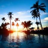 Beautiful sunset at a beach resort Stock Photography