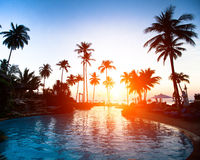 Beautiful sunset at a beach resort Stock Images