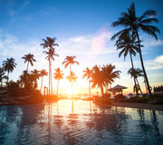 Beautiful sunset at a beach resort in the tropics. Travel. Stock Image