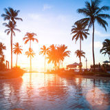 Beautiful sunset at a beach resort in tropics. Travel. Royalty Free Stock Images