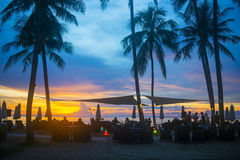 Beautiful sunset and beach restaurant Stock Photos