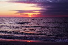 Beautiful sunset at Beach of South Venice. Florida. Natural background Royalty Free Stock Photos