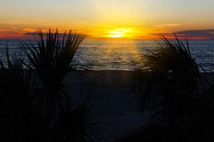 Beautiful sunset at Beach of South Venice. Florida. Stock Photo
