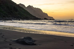 Beautiful sunset in the beach of Tenerife Royalty Free Stock Image