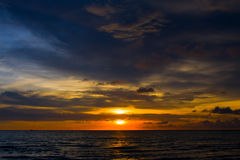 Beautiful sunset on the beach in Thailand. Royalty Free Stock Photos