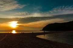 Beautiful sunset on a beach in Thailand royalty free stock images