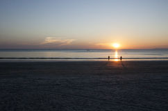 Beautiful sunset on the beach. Sunset time on the beach. Twilight time Stock Images