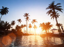 Beautiful sunset at beach in the tropics. Asian. Royalty Free Stock Photo