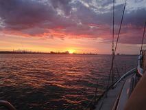 Sunset on Southampton water. Beautiful sunset behind ABP on Southampton water stock photos