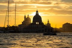 Sunset behind the Church of Madonna Della Salute in Venice Stock Images