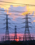 Beautiful Sunset Behind Electricity Plant Industry Estate Stock Image