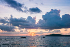 Beautiful sunset behind the ocean - Krabi, Thailand Stock Image