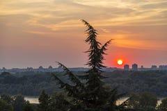 Beautiful sunset in Belgrade, Serbia Royalty Free Stock Photo