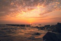 Beautiful sunset on the Black sea. Gold sea sunset.Poti, Georgia royalty free stock photo
