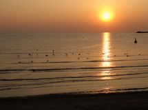 Beautiful sunset at the black sea in Romania royalty free stock photography