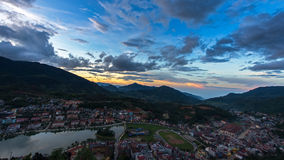 Beautiful sunset blue sky at Sapa valley city in the mist in the evening,. Vietnam Stock Image