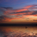 Beautiful sunset and a Boat. In Spain Royalty Free Stock Photography