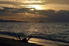 Beautiful Sunset At Bounty Island Fiji. Root in the water. Islands in the horizon royalty free stock photography