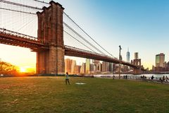 Beautiful sunset at Brooklyn Bridge royalty free stock photos