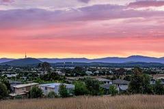 Beautiful sunset at Canberra Australia stock photo