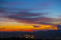 Beautiful sunset in Chiang Mai, Thailand royalty free stock photography