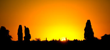 A beautiful sunset in the Chianti region, in Tuscany near Florence Royalty Free Stock Photos