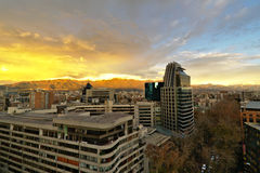 Beautiful sunset in Chile with lightened Andean mountain range. Royalty Free Stock Photo