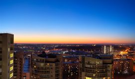 Beautiful sunset and city lights. Beautiful sunset and the city lights stock image