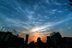 Urban sunset glow. The beautiful sunset of the city Royalty Free Stock Image