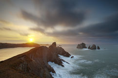 Beautiful sunset light on the cliffs of Liencres, Cantabria, Spain Stock Image