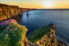 Beautiful sunset from the cliffs of moher in county clare, ireland Royalty Free Stock Photo