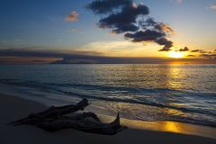 Beautiful Sunset Close To Montserrat, Antigua Stock Photography