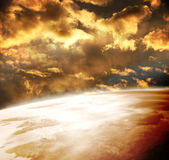 Beautiful sunset, cloud and planet vector illustration