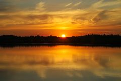 Beautiful sunset with clouds on the Volga river Royalty Free Stock Photography