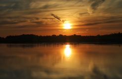 Beautiful sunset with clouds on the Volga river Royalty Free Stock Photo