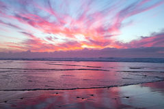 Beautiful sunset at the coast at the north sea Netherlands Royalty Free Stock Photography