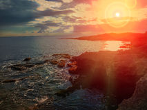 Beautiful sunset on the coast of Sicily, Italy Royalty Free Stock Image