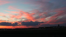 A beautiful sunset with colorful clouds stock video