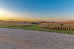 Beautiful sunset with beautiful skyline over a corn field in Omaha Nebraska royalty free stock photo