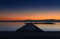 Beautiful sunset colors in lake Ohrid Royalty Free Stock Images