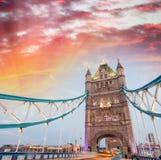 Beautiful sunset colors of Tower Bridge, London Royalty Free Stock Photo