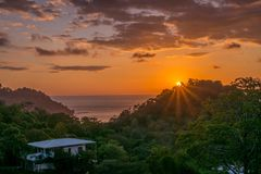 Beautiful sunset in Costa Rica. Beautiful sunset from High on a Hill  in Costa Rica Stock Photography
