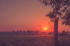 Beautiful sunset at a countryside Royalty Free Stock Photos