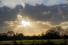Beautiful sunset in the countryside royalty free stock photography