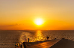 Beautiful sunset from cruise ship Royalty Free Stock Photo